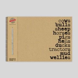 Cows and Wellies Sketch Pad with Pencil - A3